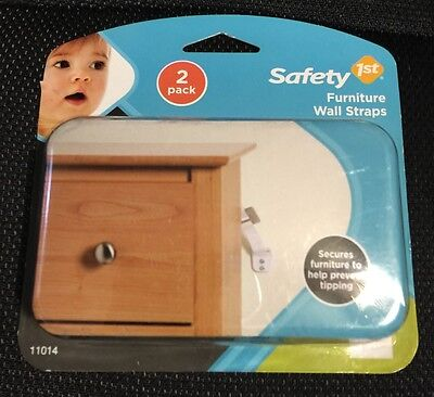 New Safety First Furniture Wall Straps 2 Pack #11014 Infant/Baby Protection