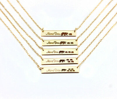 Fashion Women Engraved Mama Bear Bar Pendant Necklace Mother's Day Jewelry Gift