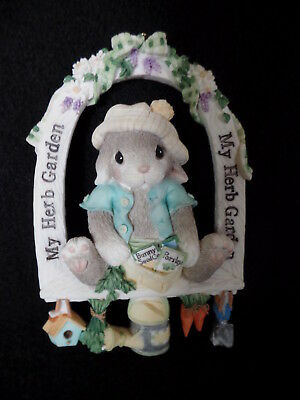 Enesco Blushing Bunnies - My Herb Garden Ornament / Wall Hanging 786632 In Cello