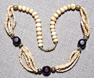 Vintage Dainty Cream Color With Maroon Beads Oxen Bone Choker Necklace