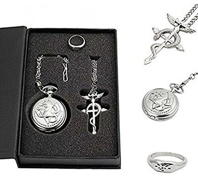Powshop Fullmetal Alchemist Anime Pocket Watch with Necklace and Ring Anime for