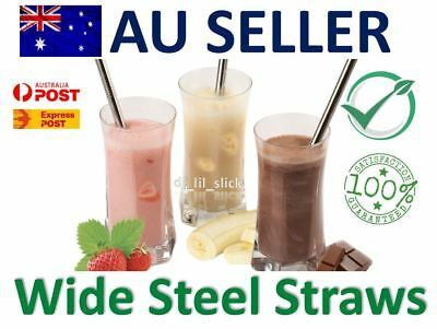Wide Eco Stainless Steel Drinking Straws Metal Smoothie Straw Reuseable Brush