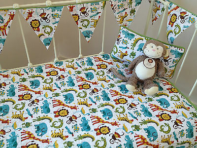 3 pce Baby Boys Cot Quilt, Cushion & Bunting Jungletime Nursery Bedding Set