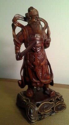 "11"" Old Chinese Boxwood wood hand carved Guan Gong Yu  Warrior Statue"