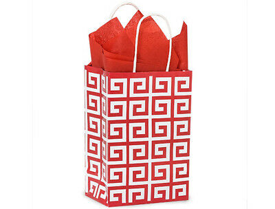 100 Gift Ping Paper Bags With Handles Valentines Red White