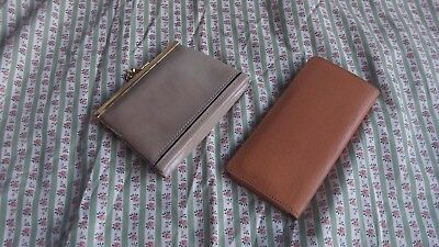 French Vintage Small Leather Purse & Le Tanneur Vanity Mirror & Comb in Case