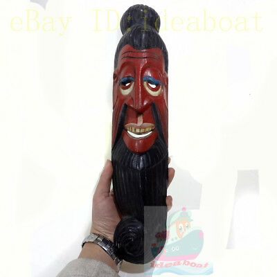 China Wood Hand Carved Painted NUO MASK Walldecor-Art-Earth God(Tu Di) Tall 44cm