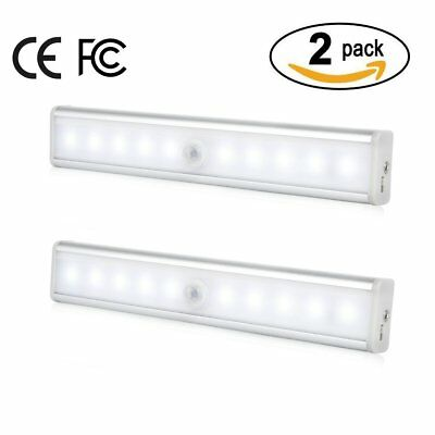 2pc ICOCO Rechargeable Motion Sensor PIR LED Night Light Bar W/ Magnetic Strip A