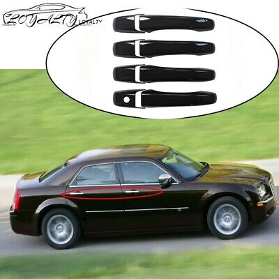 For 2005-2010 CHRYSLER 300 05-08 MAGNUM GLOSS BLACK Door Handle COVERS No Smart