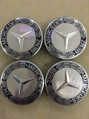 4 X WHEEL CENTRE HUB CAPS 10Pin Clips 75mm Cover Badge Emblem Fits:MERCEDES BENZ