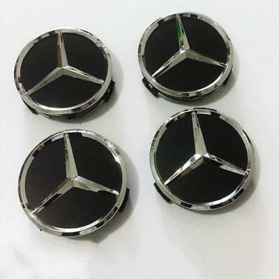 4 X WHEEL CENTRE HUB CAPS 75mm Cover Badge Emblem Matte Black Fits:MERCEDES BENZ