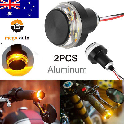 Motorcycle Turn Signal LED Light Indicator Blinker Handle Bar End Handlebar AU