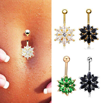 Piercing Nombril Cristal Strass Barbell Fleur Boule Belly Ring Bijoux de Corps