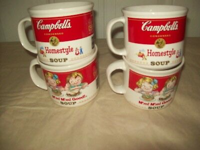4 Vintage Campbell's Soup Cups  2 M'm! M'm! Good 2 Homestyle 1989 West Wood