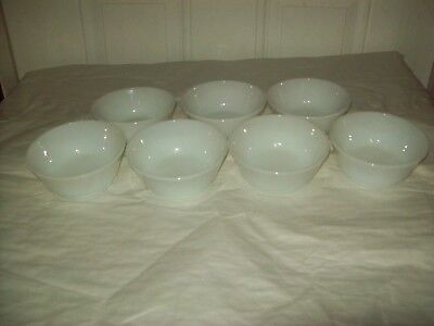 "7 Vintage Anchor Hocking Fire King White Milk Glass 4 7/8"" Cereal / Chile Bowls"