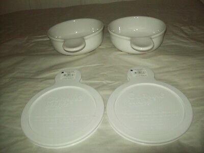 Lot of 2 New Corning Ware French White Grab It 15 Ounce  with Plastic Lids NWT