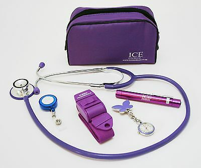 Nurse Set Purple Tourniquet, LED Pen torch and Stethoscope ID Tag Watch with Bag