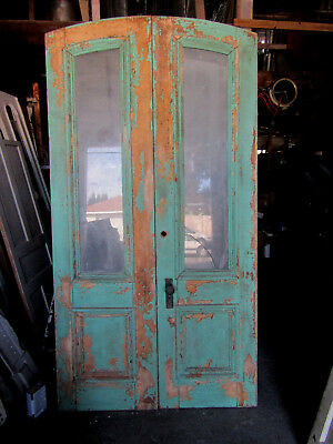 ~ ANTIQUE DOUBLE ENTRANCE FRENCH DOORS  ~ 48 x 91 ~  ARCHITECTURAL SALVAGE