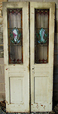 ANTIQUE STAINED GLASS DOUBLE ENTRANCE FRENCH DOORS 36 x 79 ARCHITECTURAL SALVAGE