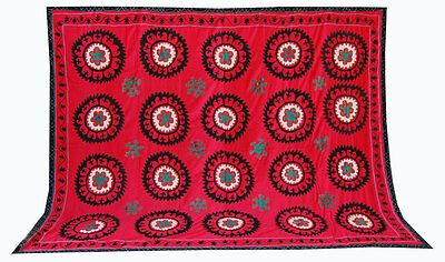 Large  Uzbek Hand Embroidery Silk Old Suzani Of Surhandarya  Ram-251