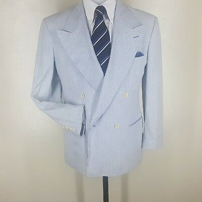 Boys Polo By Ralph Lauren  U.s.a. Vtg  Double Breasted Seersucker  Blazer 19R