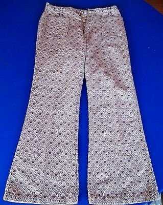 MENS 30 vtg 60s textured Diamond Red Pants Bell Bottom Hippie Hipster wide flair