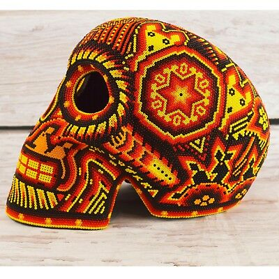 H415 Skull Huichol Mexican Folk Art Shipping From Mexico Peyote