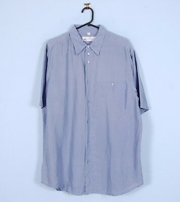 Vintage 90s Silk Shirt In Light Blue Oversized Short Sleeve C&A Large 41/42