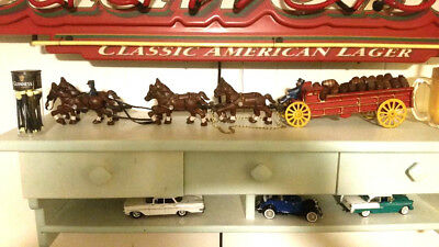 Vintage  Clydesdale Horses & WAGON BUDWEISER BEER Cast Iron