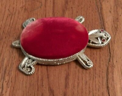 vintage turtle figurine/trinket holder/pincushion pin cushion intricate detail