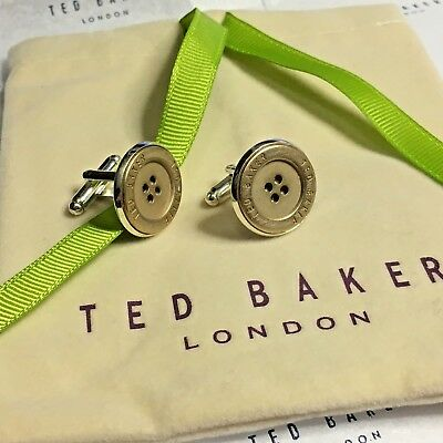 TED BAKER Cufflinks LARGE BRASS COAT BUTTONS SILVER CABOCHON CUFF LINKS + Pouch
