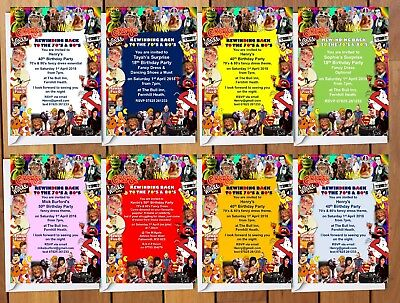 70 s 80 s themed fancy dress birthday party invitations 2 50