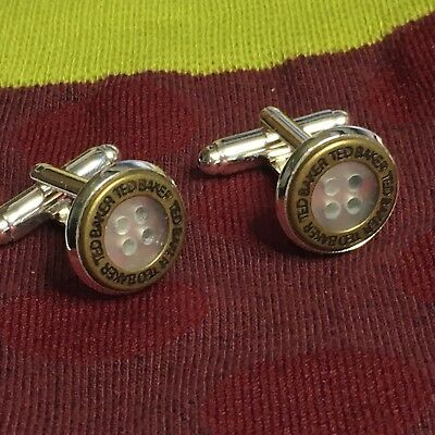 TED BAKER Cufflinks Antique Bronze Shirt Buttons SILVER PLATED CABOCHONS + Pouch