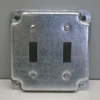"""(10) Steel City RS5 4"""" Square Cover 1/2"""" High Two Toggle Switch Crushed Corner"""