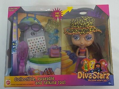 "Mattel 2000 DIVA STARZ 6"" Talking & Poseable Doll NIKKI #28839 1st MINT in BOX"