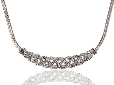 Braided Silver Tone Bridal Clear Rhinestone Collar Fashion Adj Necklace