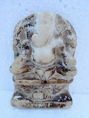 1850's Antique Old Italian Marble Hand Engraved Hindu God Ganesha Figure Statue