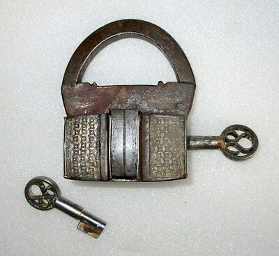 Antique Old Iron Hand Carved Brass Decorated Strip Screw System Dual Key Padlock