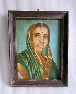 Antique Old Rare Artist Hand Painted Indian Tribal Woman Portrait Oil Painting