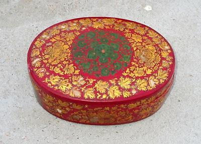 Vintage Old Rare Wooden Hand Crafted Unique Golden Leaf And Red Color Round Box