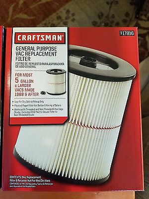 Craftsman Vac Replacement Filter General Purpose Wet / Dry Vacuum 17816 NEW!!