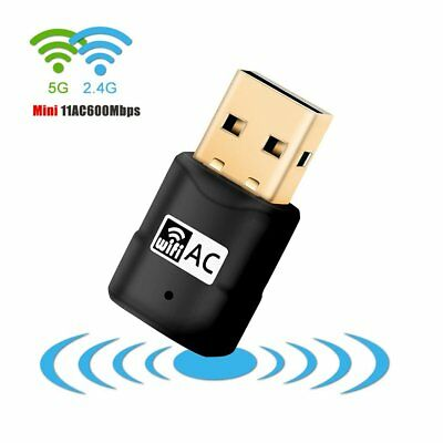 600Mbps Dual Band 802.11ac 2.4GHz 5GHz PC USB WiFi Adapter Network LAN Dongle UK