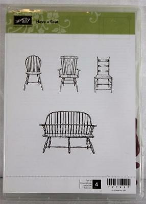 Stampin' Up! Have A Seat Set of 4 Red Rubber Cling Stamps In Orig Storage Case