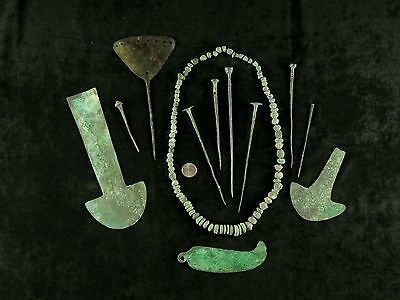 Pre-Columbian Large Collection Of Peruvian Copper (Lot Of 12)