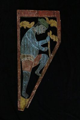 Original Folk Art Wood Panel Man Digging Hole Late 19Th C Early 20Th Century