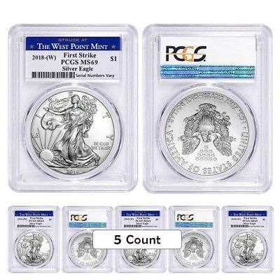 Lot of 5 - 2018 (W) 1 oz Silver American Eagle $1 Coin PCGS MS 69 FS West Point