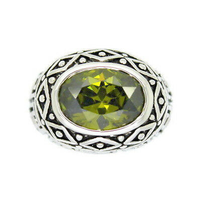 BOLD MEDIEVAL Style Ring with Simulated Peridot Center Stone