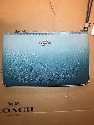 Coach New Season F21328 Large Wristlet Blue New With Tag