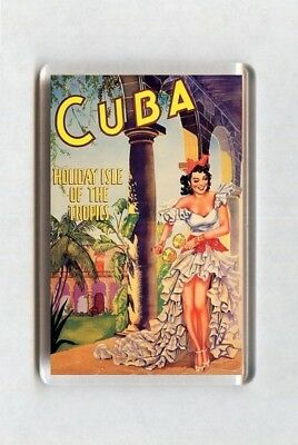 Vintage Travel Poster Fridge Magnet - Cuba Holiday Isle Of The Tropics (1)
