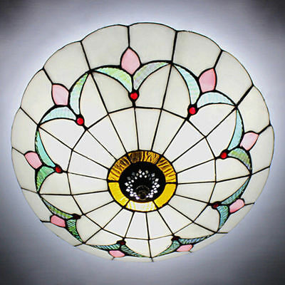 White Stained Glass Chandelier Light Fixture Tiffany Flush Mount Ceiling Lamp